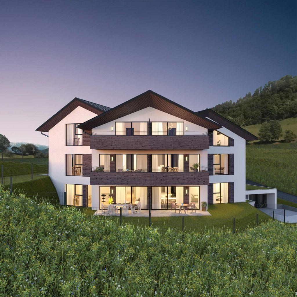 Das Mehrfamilienwohnhaus in Alpendorf wurde von Blaupause Immobilien so geplant, dass sich der atemberaubende Ausblick aus allen Wohneinheiten bietet.