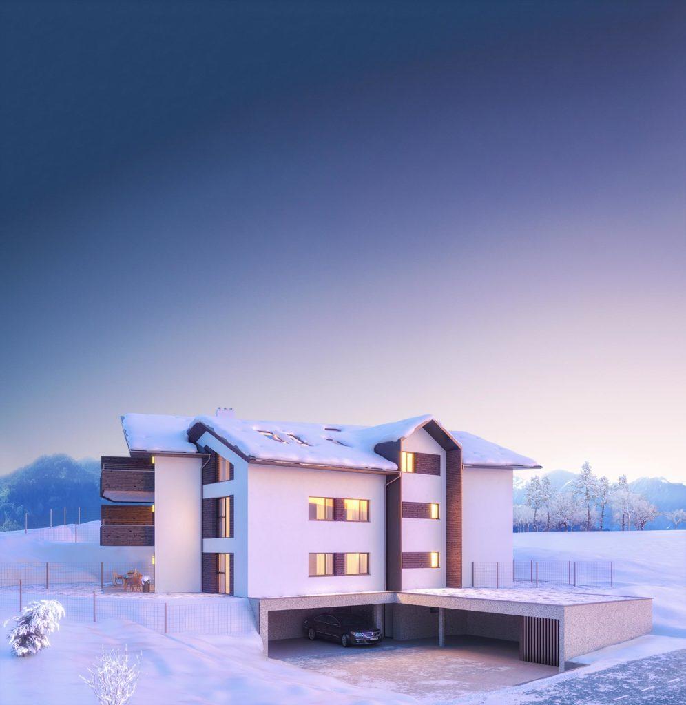Im Mehrfamilienwohnhaus von Blaupause Immobilien können die Bewohner vom angrenzenden Skigebiet mit den Skier bis zu ihrer Haustüre fahren