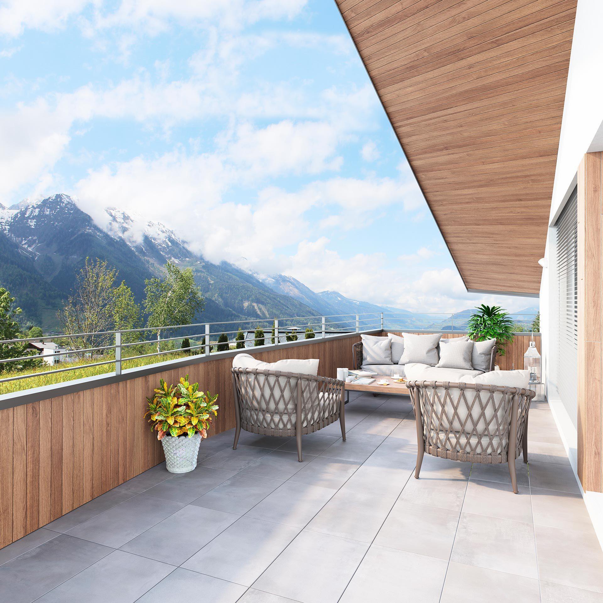 Ihr Ausblick aus den Dachgeschoss-Wohnungen von Blaupause Immobilien in Alpendorf
